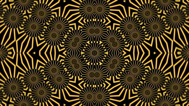 vídeos de stock e filmes b-roll de abstract background with gold kaleidoscope - mosaicos flores
