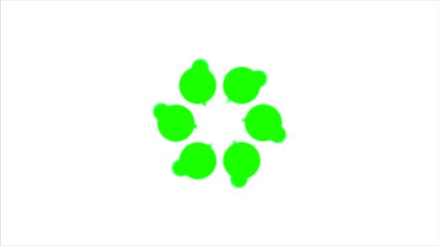 Abstract background with green rotating polka dots. Green dot circle video