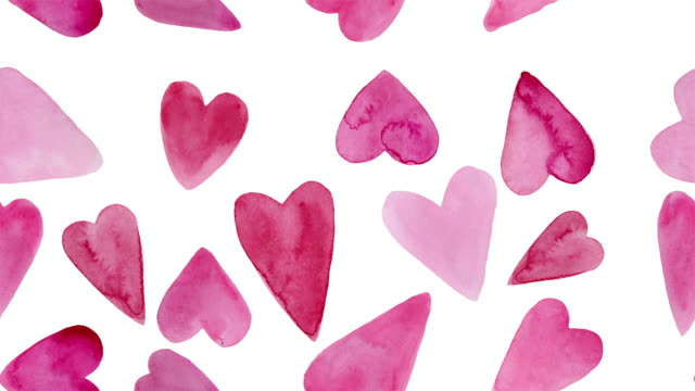 Abstract background with hand drawn watercolor hearts. Looped Animation.