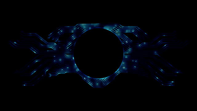 abstract background with high tech circuit board. microchip background with simmetrical motherboard pattern, circle frame and copy space for your text. - scheda a circuito video stock e b–roll