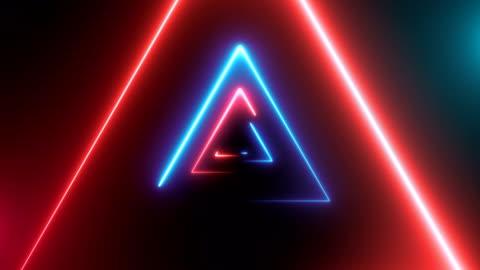 zusammenfassung hintergrund mit neon-dreiecke - computergrafiken stock-videos und b-roll-filmmaterial