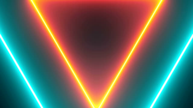 vídeos de stock e filmes b-roll de abstract background with neon triangles - design