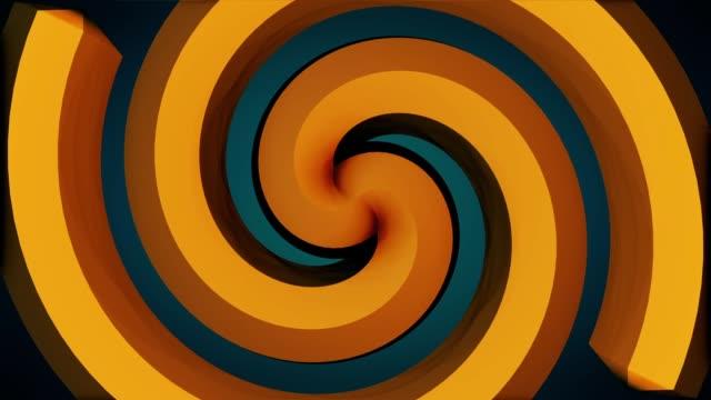 sfondo astratto con rotazione della spirale ipnotica. sfondo tunnel vortice psichedelico a spirale - hippy video stock e b–roll