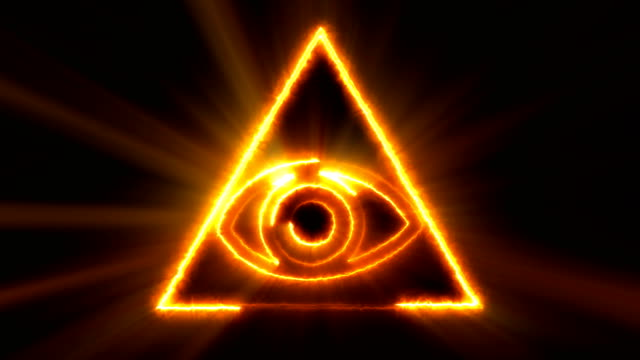 Abstract background with The Eye of Providence. Seamless loop digital backdrop video