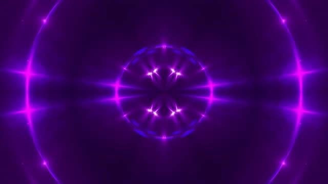 vídeos de stock e filmes b-roll de abstract background with vj fractal violet kaleidoscopic. 3d rendering digital backdrop - continuidade