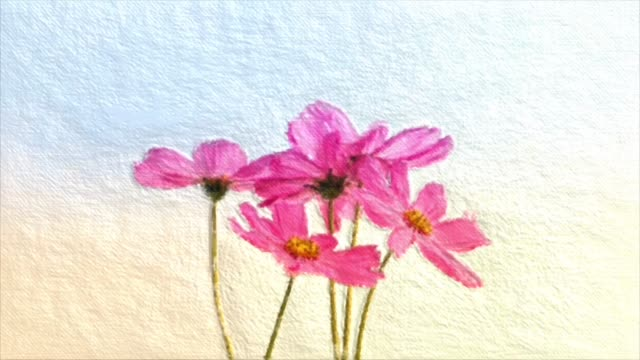 Abstract backgrounds , Bouquet of pink cosmos , Oil painting style