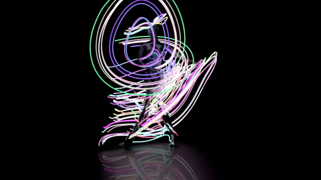 Abstract Ballet dancer with light beams video