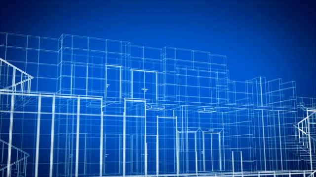 Abstract Beautiful Building Process of Skyscraper Blueprint Grid Seamless. Looped 3d Animation of Growing Construction Progress Modern Building in Lines Structure.