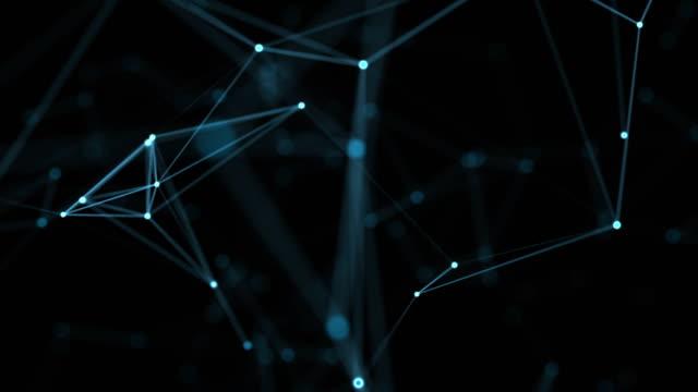 vídeos de stock, filmes e b-roll de belo geométrico abstrato com o movimento de linhas, pontos e triângulos. tecnologia abstrata da fantasia do plexo. animações de loop. - plexo