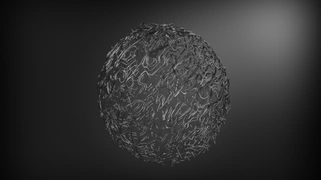 Abstract beautiful sphere created from thin iron filaments. The iron sphere revolves around its axis.