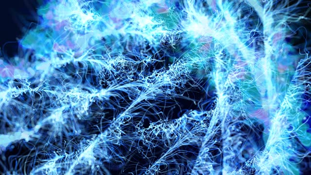 Abstract bg like winter frost pattern in 3d space. Particles form branches like frost patterns from blue christmas tree branches. Christmas background, spreading frost like a window freezes but in 3d. video