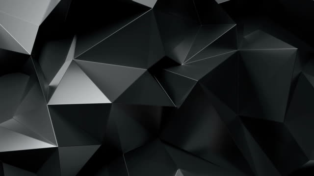 Abstract black lowpoly graphite crystal background. Seamlessly Loopable.