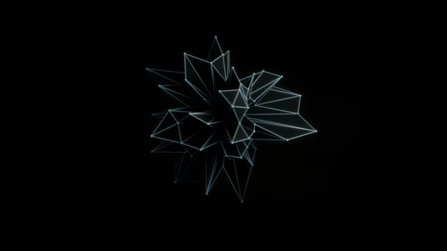 abstract black shape rotating 3d render. loop - morphing video stock e b–roll