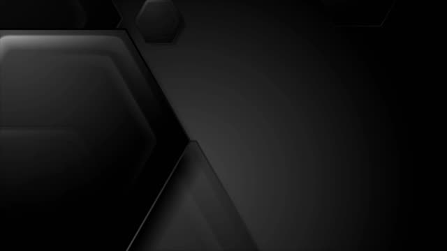 Abstract black tech hexagons video animation video