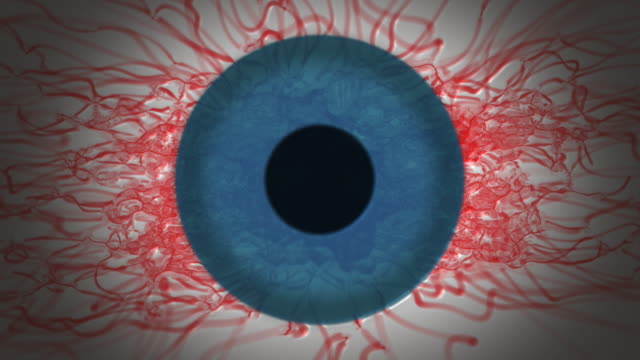 Abstract Bloodshot Blue Eye with blinks loop video