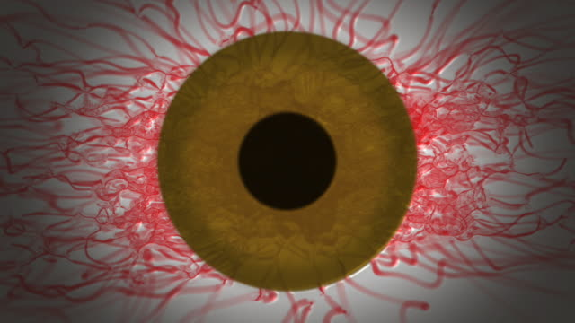 Abstract Bloodshot Brown Eye with blinks loop video