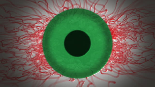 Abstract Bloodshot Green Eye with blinks loop video