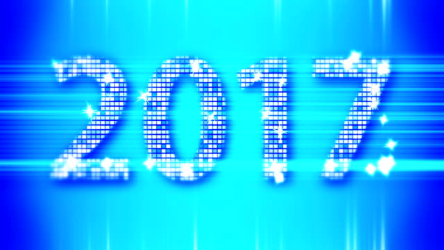 abstract blue 2017 new year loopable background - new year стоковые видео и кадры b-roll