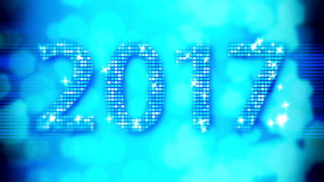abstract blue 2017 new year loopable background with bokeh - new year стоковые видео и кадры b-roll