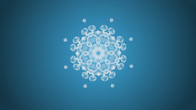 vídeos de stock e filmes b-roll de abstract blue background with animation of flying particles in mosaic patterns as snowflake. - mosaicos flores
