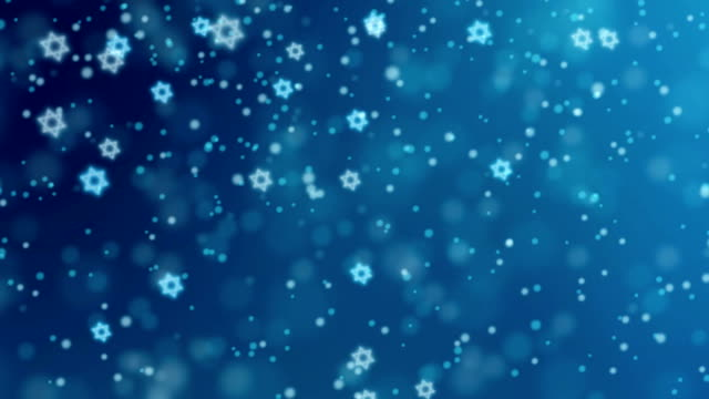 Abstract blue background with falling glittering bokeh lights and Jewish stars. HD Israeli animation for Jewish holidays Hannukah, Pesach, Rosh Hashanah, Purim. video