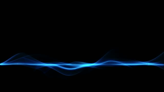 Abstract blue futuristic wave form on dark background video