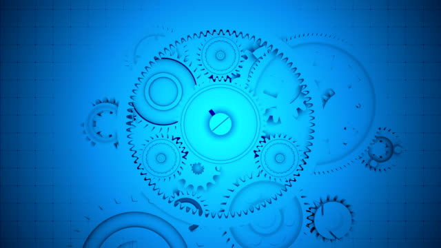 Abstract Blue Gears Background - Seamless Loopable video