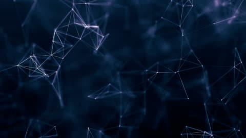 sfondo geometrico blu astratto con linee e punti - elementi in loop video stock e b–roll