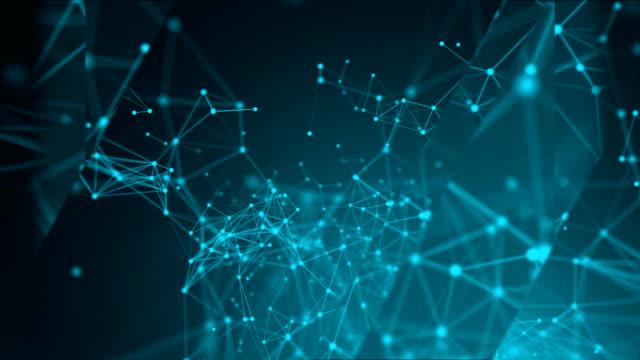 abstrakt blå geometrisk bakgrund med rörliga streck och punkter - nod bildbanksvideor och videomaterial från bakom kulisserna