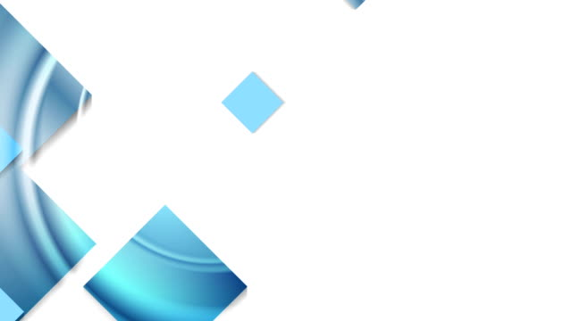 Abstract blue glossy geometric squares animated background video
