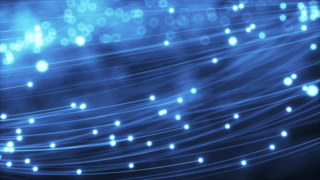 Abstract blue glowing fiber lines video