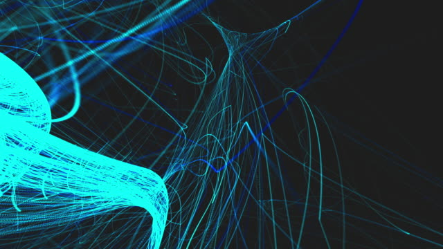 Abstract blue lines animation motion effect on dark background