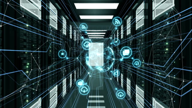 abstract blue media icons with network connections flying in server room. looped 3d animation of datacenter. digital media and futuristic technology concept. - безопасность сети стоковые видео и кадры b-roll