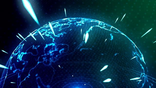 abstract blue planet earth, technology, internet universe planet - geografia fisica video stock e b–roll