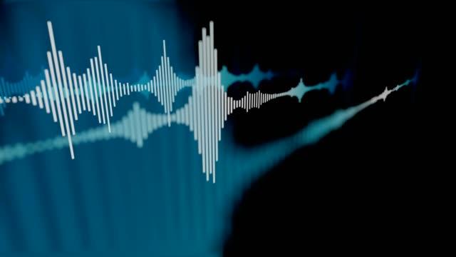vídeos de stock, filmes e b-roll de abstratas azul as ondas sonoras. 3d renderizados loop de animação. - música acústica