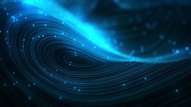 vídeos y material grabado en eventos de stock de líneas giratorias azules abstractas con puntos brillantes de fondo loopable - curva forma