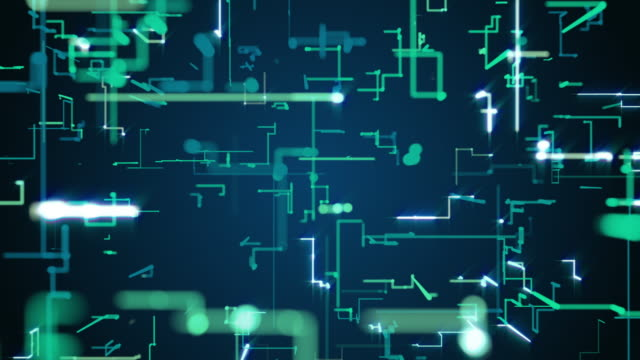 Abstract blueprint cyber space digital circuit pixel light line connects wallpaper backgrounds copy space, future system IOT programming and data transfer technology 3D backgrounds for presentation.