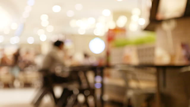 Abstract blurry food court at supermarket/mall for background. video