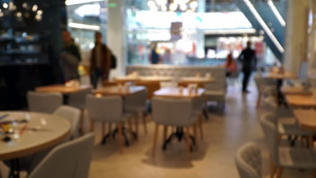 Abstract bokeh background of blurred coffee house in mall with people and waiters. Visitors come to premises of small restaurant for lunch.