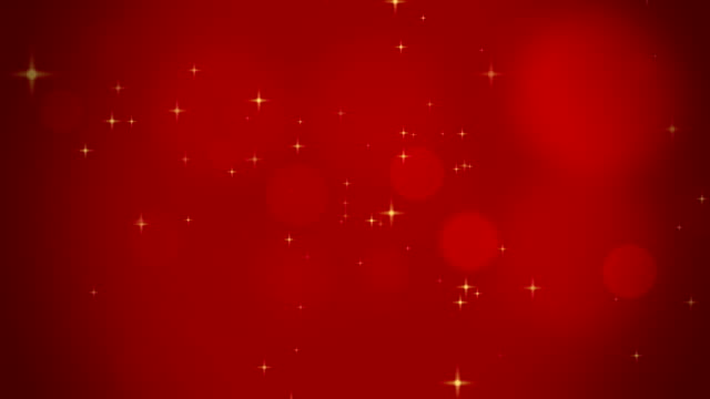 abstract bokeh lights and shiny yellow stars in front of red background video