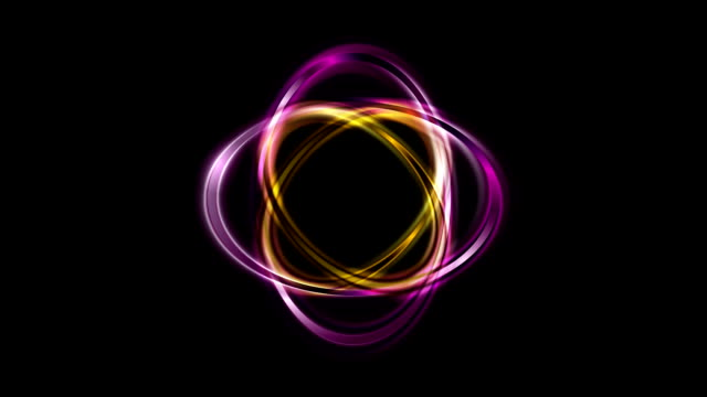 Abstract bright ellipse shape logo rotation on black video