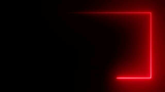 abstract bright neon rectangular frame. laser technological background design. looped - czerwony filmów i materiałów b-roll