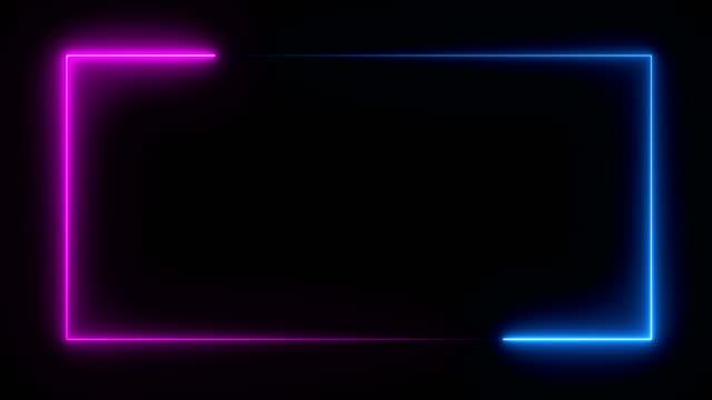 abstrakte helle neon rechteckigen rahmen. lasertechnologischehintergrund-design. geloopt - rechteck stock-videos und b-roll-filmmaterial