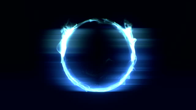 Abstract burning fire circle loopable background footage