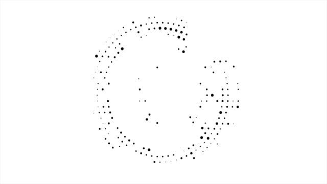 vídeos de stock e filmes b-roll de abstract business background with circular halftone design in the form of an open circle of black dots around the circle. - sarapintado