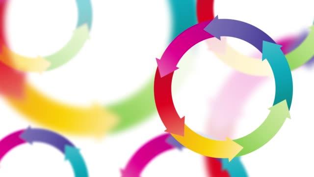 abstrakt business-hintergrund mit pfeilen farbkreise - flussdiagramm stock-videos und b-roll-filmmaterial