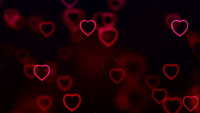 abstract christmas gradient red and purple gradient on black background with bokeh glitter and red hearts shape flowing, valentine day love relationship holiday event festive - valentines day stock videos and b-roll footage