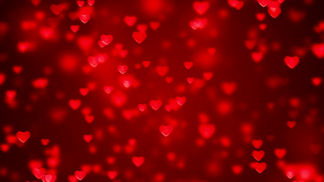 abstract christmas gradient red gradient background with bokeh glitter and red hearts shape flowing, valentine day love relationship holiday event festive - valentines day stock videos and b-roll footage
