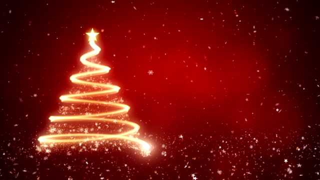 Abstract christmas tree in red background