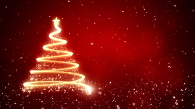 vídeos de stock e filmes b-roll de abstract christmas tree in red background - christmas card